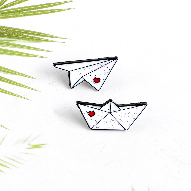 Childhood fun love white paper airplane sailing enamel custom pin fun school bag clothes jewelry badge lapel brooch child gift image