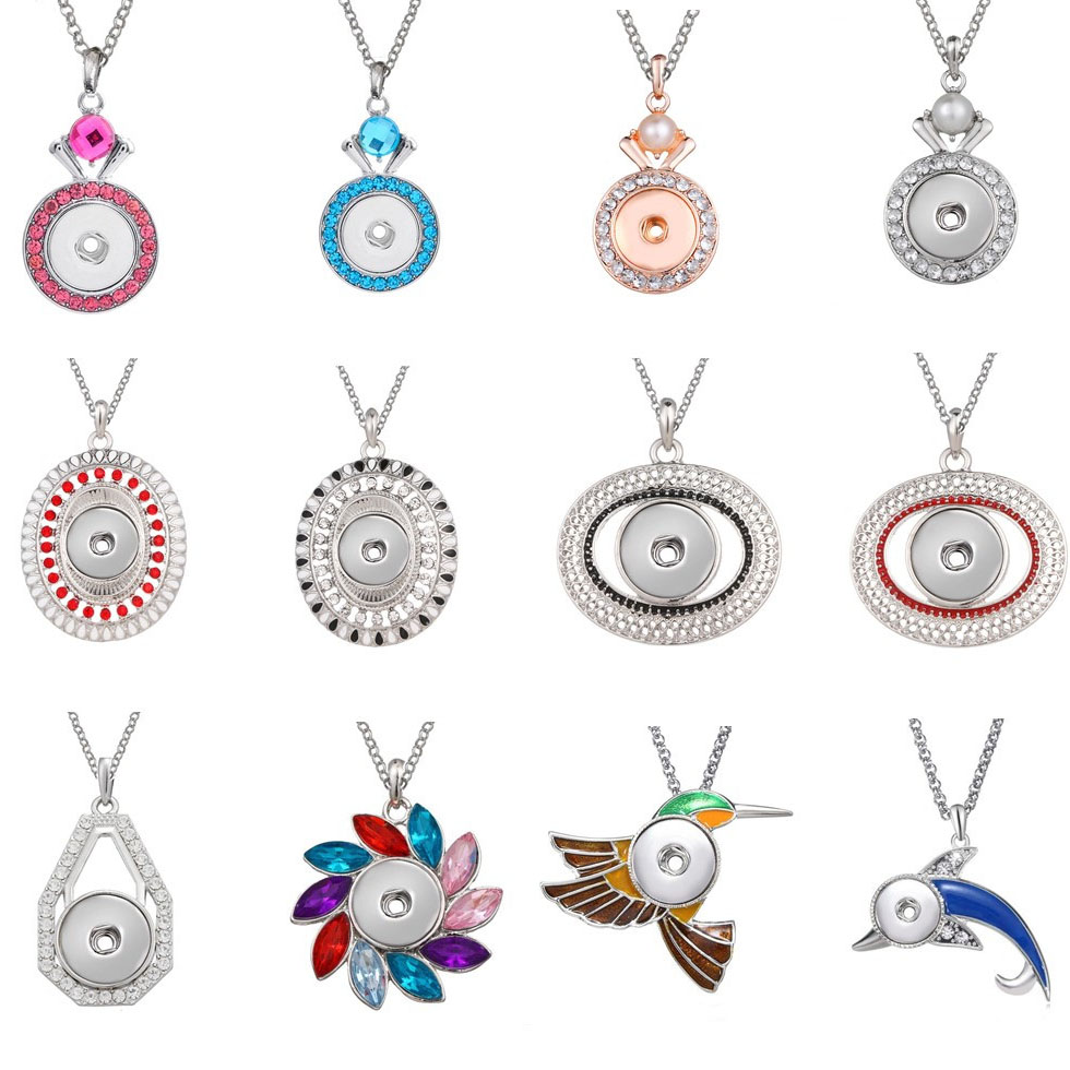 New Snap Jewelry Rhinestone Crystal Flower Snap Necklace Fit DIY 20mm 18mm Snap Buttons Pendant Necklaces For Women Accessories