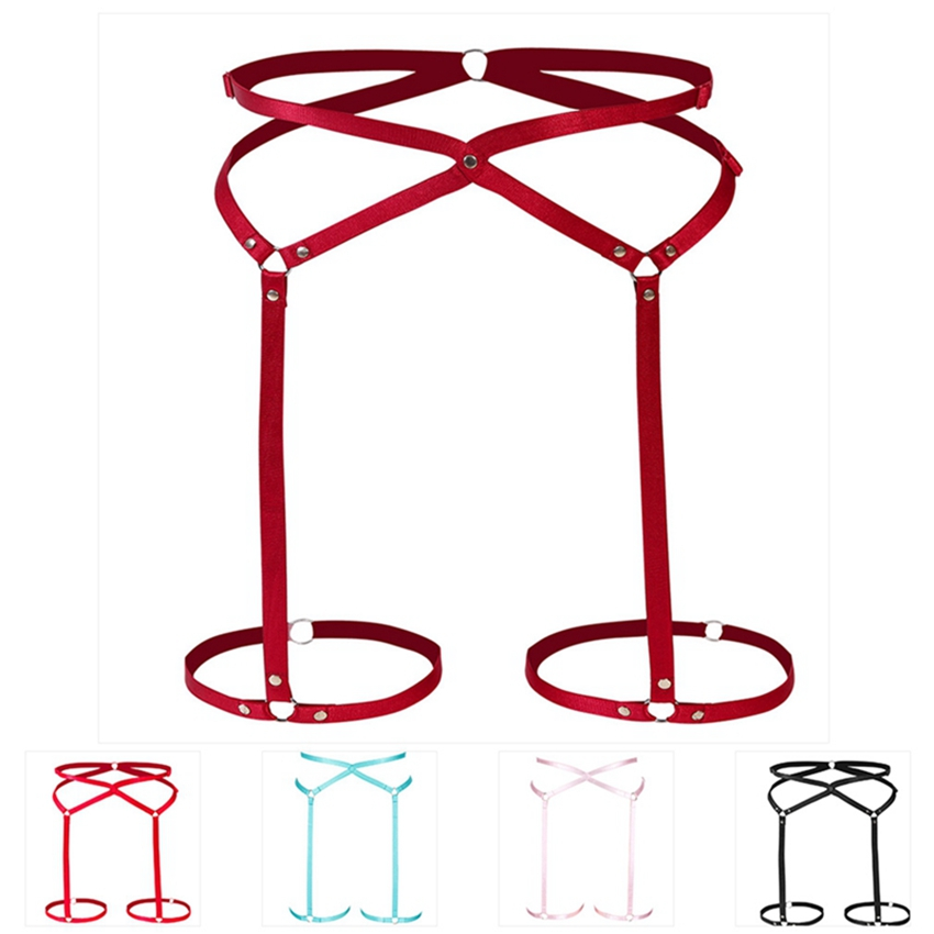 High Waist Leg Garter Belt Punk Fetish Wine Red Harness Sexy Pole Dance Bondage Gothic Body Harness Belt Thigh Stockings Garter