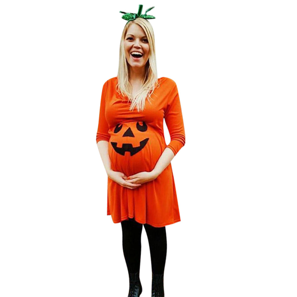 Maternity Dress Halloween Summer Clothes Long Sleeve Devil Printed Pregnant Nursing Nightgown Womens Dresses Photography Femme
