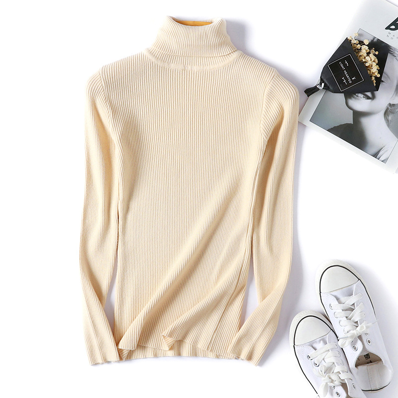 2020 AUTUMN Winter women Knitted Turtleneck Sweater Casual Soft polo-neck Jumper Fashion Slim Femme Elasticity Pullovers 20