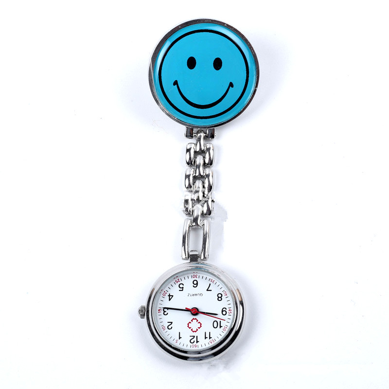 Smile Timezone Nurse Watches Brooch Fob Medical Nursery Clocks Colorful Smile Faces Quartz Pocket Pendant Hanging Watch
