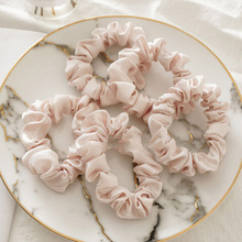 5Pcs Rubber Band Silk Hair Ring Set Solid Black White Pink Hair Rope Ponytail Holder Scrunchies Elastic Hair Circle Accessories