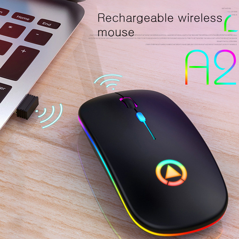 Ultra-thin Wireless Mouse Chargeable Lightweight Portable LED Colorful Light Rechargeable Mute Mouse Mice For Laptop PC