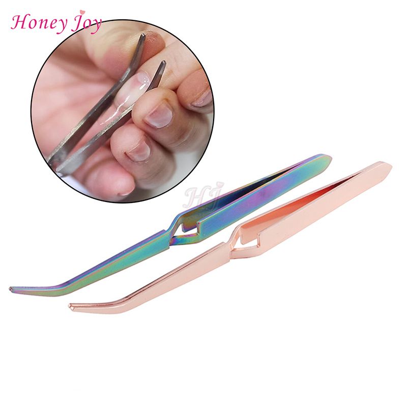 Golden Rainbow Acrylic Stainless Steel Nail Shaping Tweezers For UV Gel Tips C Curve Pinchers Sculpture Clip Nail Art Treatment
