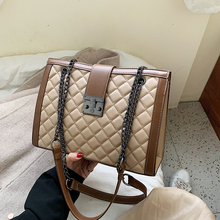 Brand Plaid Large Tote Bags for women 2019 Luxury Designer Female Chain Handbags PU Leather Messenger Beach Bag sac a main femme