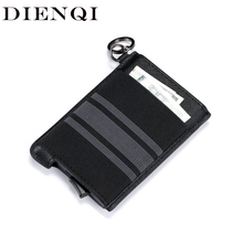 DIENQI Rfid Card Holder Men Wallet Black Slim Mini Wallet Ma