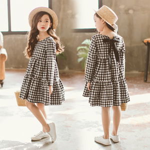 Image 2 - Brand 2020 Autumn New Girls Dresses Children Cotton Dress Kids Plaid Dress Bow Baby Girls Cotton Dress Toddler Clothes,#2787