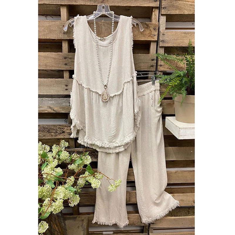 Summer Two Piece Set Ladies Fashion Casual Outfit Suit Women Sleeveless Tops Frayed Cotton Linen Vest + Wide Leg Pants