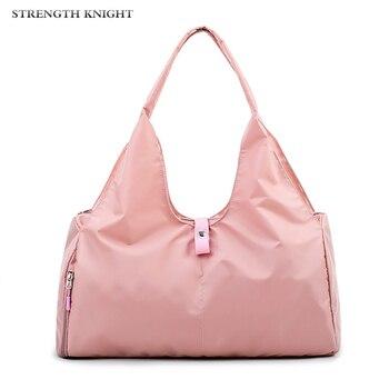 Women Fashion Sexy Pink Color Handbags Barrel-Shaped Large Capacity Travel Duffle Striped Waterproof Beach Bag Shoulder