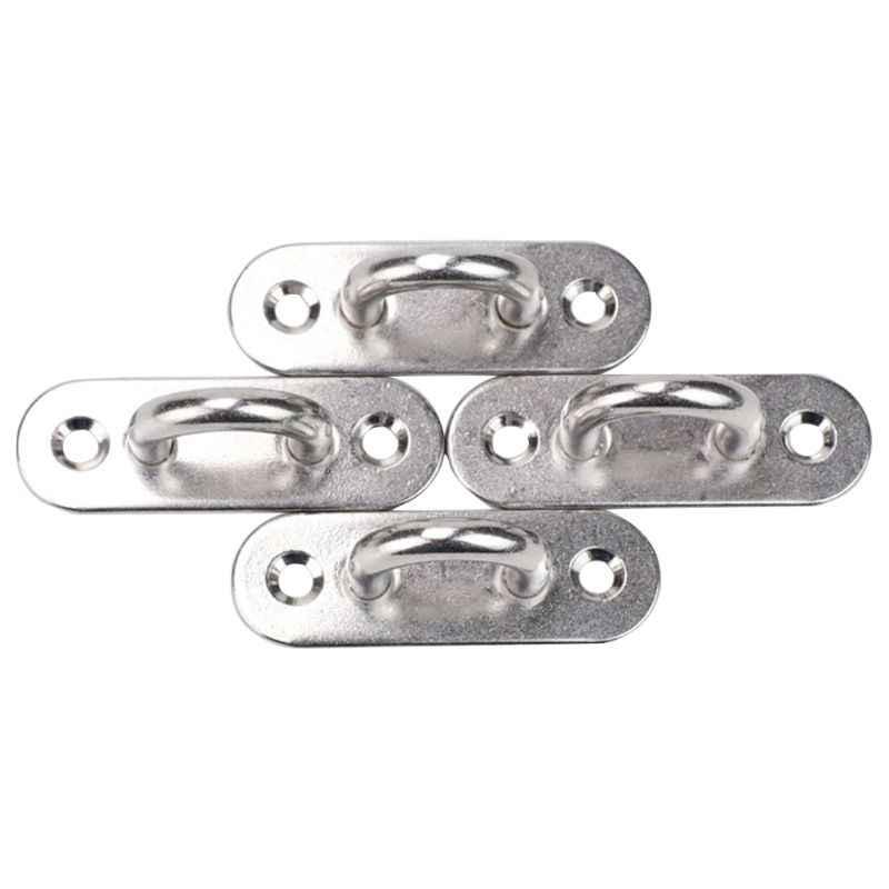 10x Black Durable Nylon Pad Eye Plate Eye Hook Hanger for Marine Yacht Sail