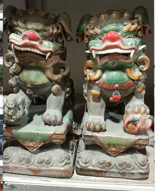 Xd 001696 china cerâmica wucai porcelana palácio feng shui mal foo fu cães leão estátua par