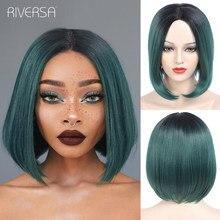 Ombre verde recto corto peluca sintética con cabello Natural pelo de Bob fibra resistente al calor pelucas rosas Cosplay para las mujeres Riversa