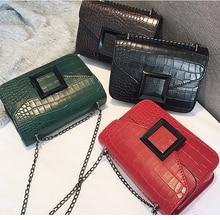 Fashion Crocodile Pattern Women Shoulder Bags Retro Alligator Small Flap Casual Solid Color Crossbody Bag For Ladies Purse