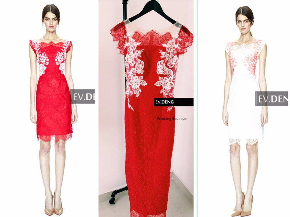Actual Lmages Appliques Evening Gown Vestido De Festa 2018 Party Gowns Knee-length Red Lace Prom Mother Of The Bride Dresses