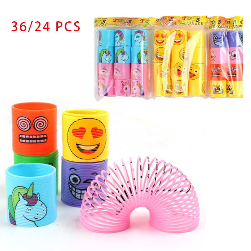 36/24 Pcs Unicorn Party Favors For Kids Hulk Smile Face Coil Springs Rainbow Circle Toys For Children Birthday Creative Gifts