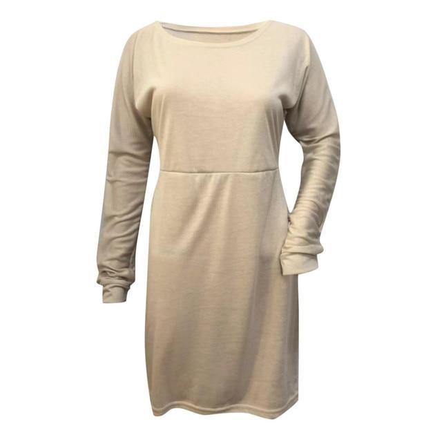 45#Beach Dress Women Winter One Shoulder Sweatshirt Long Sleeve Solid Color Mini Women's Dresses Holiday Party Nihgt Dress 4