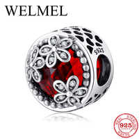 Fashion 925 Sterling Silver hollow heart three flowers Deep red CZ beads Fit Original Pandora Charm Bracelet Jewelry making