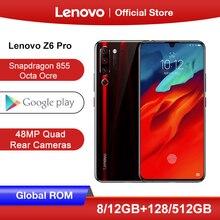 """هاتف Lenovo Z6 Pro 8GB 128GB 512GB Snapdragon 855 ثماني النواة هاتف ذكي شاشة 6.39 """"FHD كاميرا خلفية 48MP رباعية"""