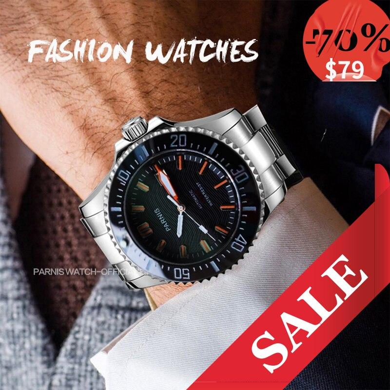 44mm Parnis Mechanical watch Men Automatic Diver Waterproof 200m Metal Mechanical Watches Sapphire Mirrow Miyota 8215 Movement