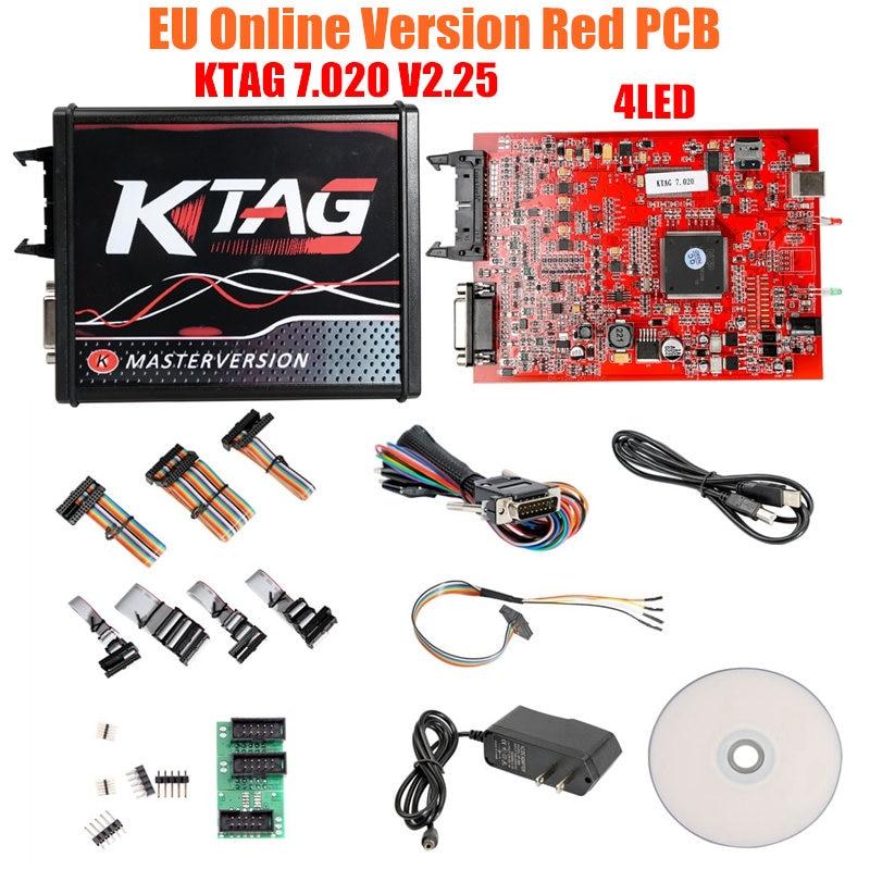 KESS V2 V 2,53 V 5,017 EU Rot ECM Titan Winols KTAG V 7,020 4 LED Online Master Version ECU OBD auto/lkw Programmierer werkzeug