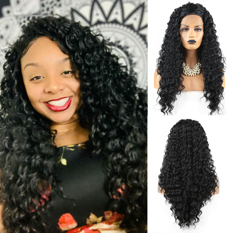 AIMEYA Free Part Black Deep Curly Lace Front Wigs For Women With Baby Hair Heat Resistant Synthetic Afro Spiral Curls Wigs