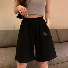 Summer Elastic Waist Casual Beach Party Korean version clothing size High waist Moon embroidery movement shorts women jogger y2k