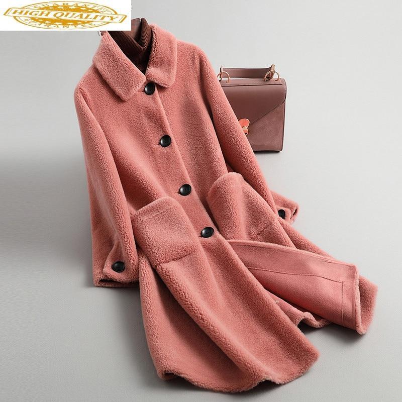 2019 Winter Jacket Women Real Fur Coat Female Sheep Shearling 100% Wool Coat Korean Long Jackets Manteau Femme YS968010