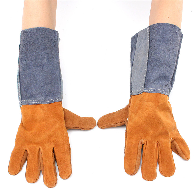 Working Soft Welding Safety Gloves Welding Cowhide Leather Plus Gloves Heat Shield Cover For Protecting Hand Color At Random