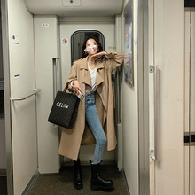 Autumn Korean khaki trench coat women's 2020 new long over-the-knee British style high-end atmospheric loose coat