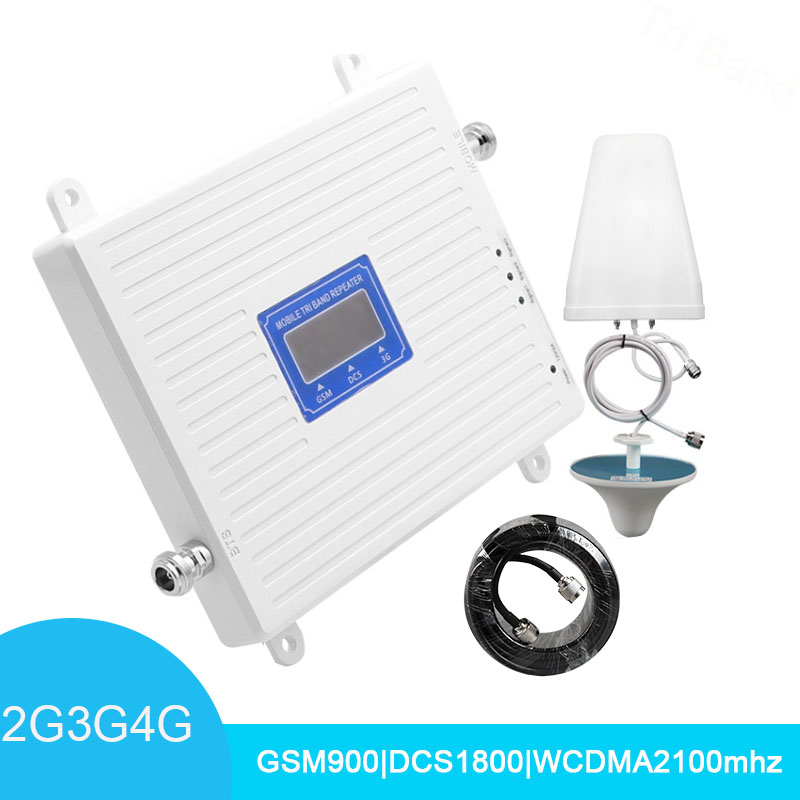 2G 3G 4G Tri Band Signal Booster GSM 900 WCDMA 2100 DCS LTE 1800 Band 3 Cellphone Signal Repeater Mobile Cellular Amplifier -
