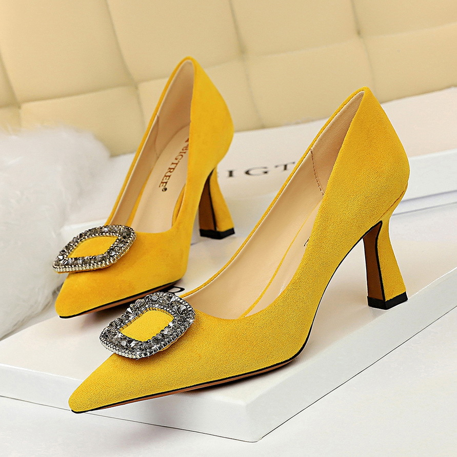 European And American-Style Fashion Sexy Evening High Heels Was Thin High-Heel Shallow Mouth Pointed Rhinestone Buckle Shoes