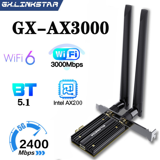 Adaptateur Wifi sans fil PCIe double bande 3000Mbps Wifi 6 Intel AX200 2.4G/5Ghz 802.11ac/ax Bluetooth 5.1 AX200NGW carte Wi-fi pour PC