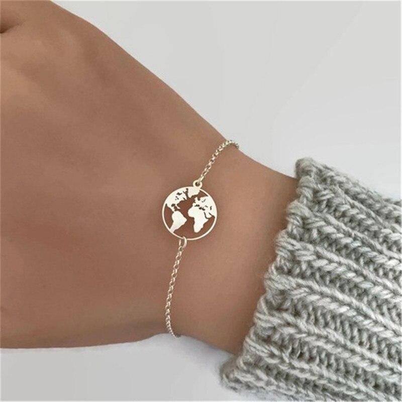 Новые модные браслеты с картой мира и браслеты, звеньевая цепочка, ювелирные изделия, золотой, серебряный цвет, женский браслет с подвесками...