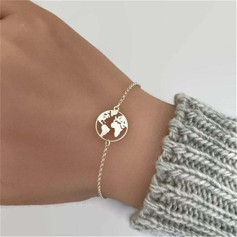 New Fashion World Map Bracelets & Bangles Link Chain Jewelry Golden Silver Color Women Charm Bracelet For Friend Wholesale