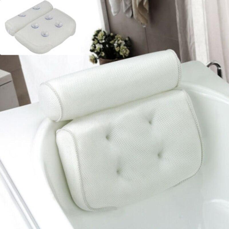 Almofada confortável do descanso do descanso dos termas do banho com ventosas 3d do apoio traseiro respirável dos termas da malha