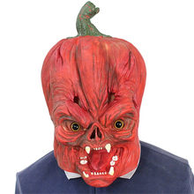 Halloween Rave mask accessories жабо frill New Deluxe Novelty Scary Costume Party Props Latex Pumpkin Head Mask free shipping #3(China)