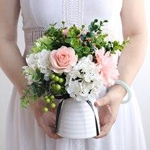 Современная керамическая ваза+ набор искусственных цветов Декор свадебные подарки украшение для дома ремесла гостиной Шелковый Искусственный цветок горшок