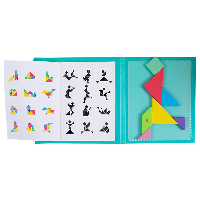 Kids Magnetic 3D Puzzle Jigsaw Tangram Thinking Training Game Baby Montessori Learning Educational Wooden Toys 3