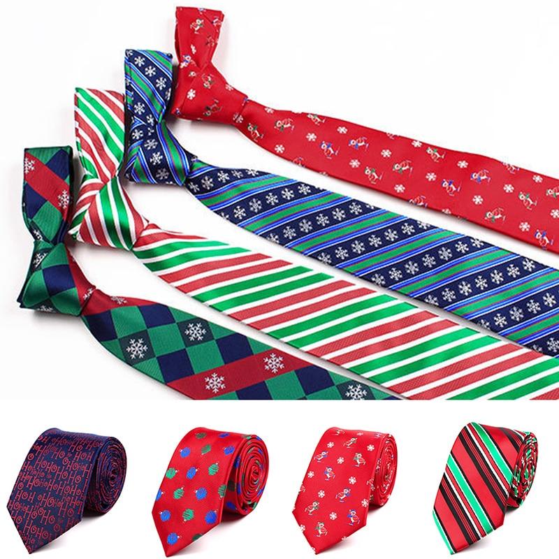Fashion  Silk Christmas Tie Snowman Tree Santa Claus Jucquard Necktie For Men Gift Festival Party Ties  Green Red