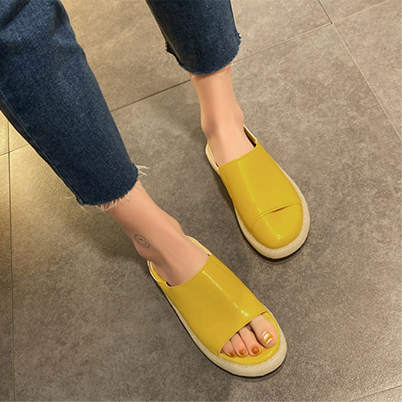 SLHJC Casual Shoes 2020 Spring Summer Candy Flats Round Toe Leather Loafers Slip On Fold Heel Anti Skid Flat Heel Shoes