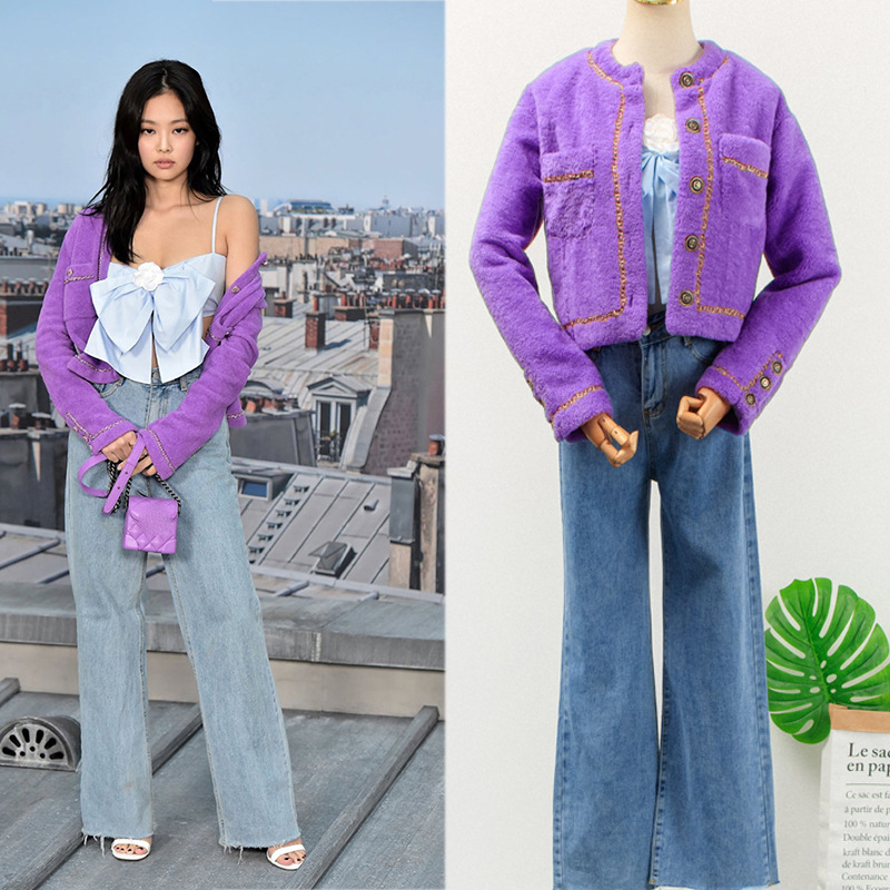 Kpop Blackpink Jennie Same Korean Purple Short Knitted Cardigan Tops Coat And Lady High Waist Straight Jeans Women Two-Piece Set