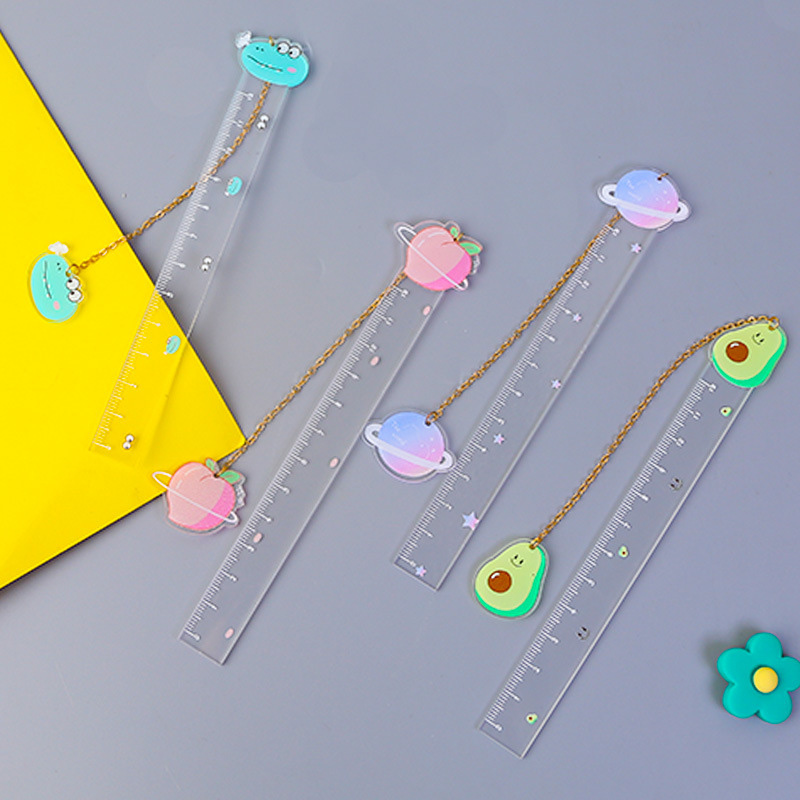 Kawaii Planet Pendant Book Mark Cute Fruit Avocado Ruler Bookmark For Kids Gifts School Office Stationery Supplies