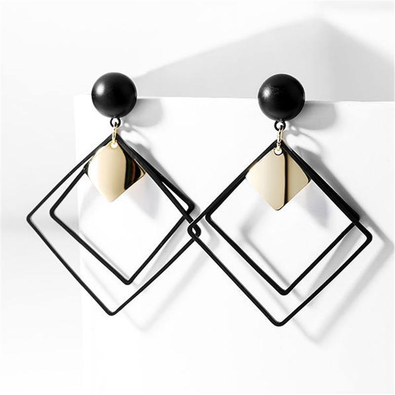 Square Fashion Earring Cutout Geometry Aesthetics Nature Stone Korean Engagement Female Party Acceaaories Jewelry Gifts EF14