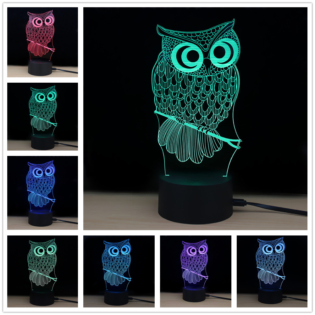 NEWKBO LED 3D Lamp Owl Touch Atmosphere Night Light Usb Powered Shining Td182 Led Lamp With 7 Color Changing
