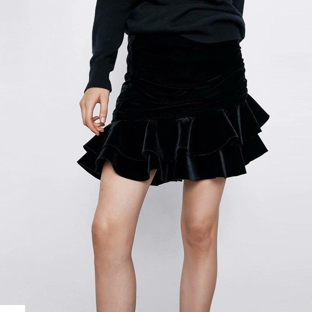 Асимметричная юбка с воланом, со средней талией, с рюшами, облегающая женская юбка, черная, элегантная, офисная, для девушек, мини, Moda Mujer 2020