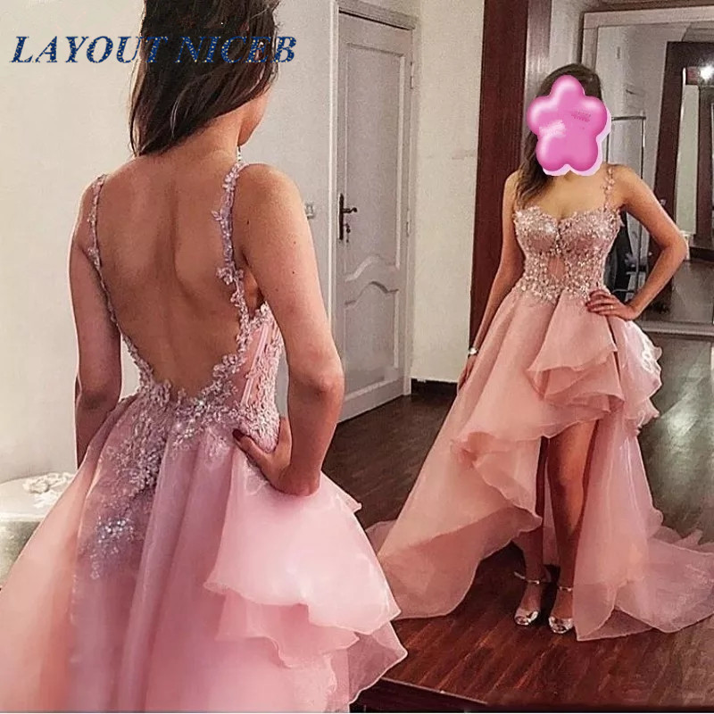 Spaghetti Straps Short Organza   Prom     Dresses   2019 Sexy Backless Appliques Ruffle Hi-Lo Party Gowns Formal Evening   Dresses