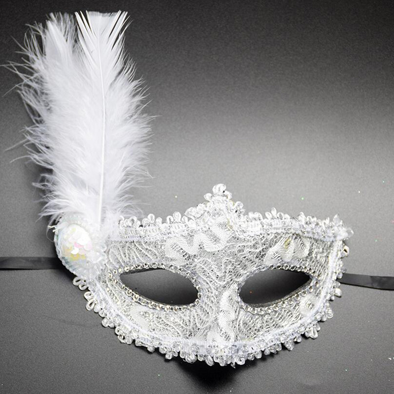1pc Women Sexy Venetian Lace Feather Flower Eye Masks Halloween Masquerade Mask Girls Half Face Party Dance Mask