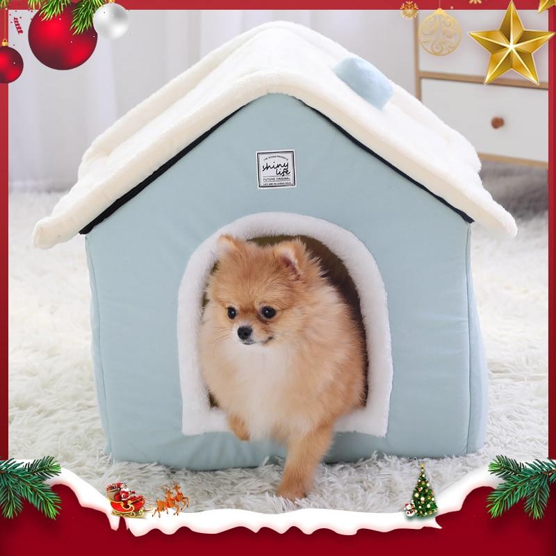 Hoopet casa do cão interior quente canil pet gato caverna ninho coelho lavável removível esteira aconchegante dormir cama para gatos
