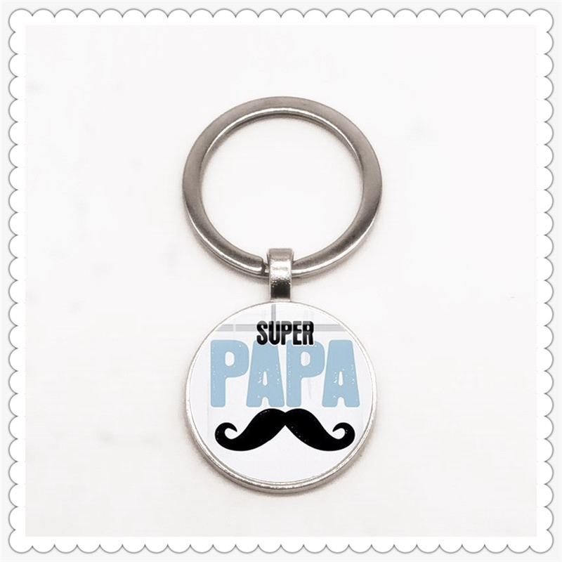 Father's Day Super Dad Pattern And Text Keychain Essential Gift For Family Members
